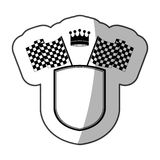 Sticker monochrome shield with crown and racing flags and half shadow. Vector illustration Royalty Free Stock Image