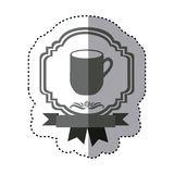 sticker monochrome silhouette border heraldic decorative ribbon with big mug with handle Stock Illustration