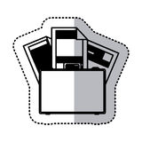 Sticker monochrome silhouette briefcase and documents office Stock Photography