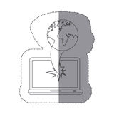 sticker monochrome silhouette broken front view tech laptop with earth world map icon Royalty Free Stock Photos