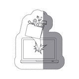 Sticker monochrome silhouette broken front view tech laptop with tech elements Royalty Free Stock Images