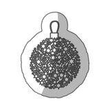 Sticker monochrome silhouette christmas wreath of glass with star decorations. Illustration vector illustration