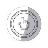 Sticker monochrome silhouette circular button with pixelated hand pointing up. Illustration Royalty Free Stock Images