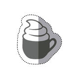 Sticker monochrome silhouette cup of cappuccino with cream. Illustration Stock Photography