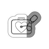 Sticker of monochrome silhouette with first aid kit with symbol of heart and stethoscope. Illustration Royalty Free Stock Images