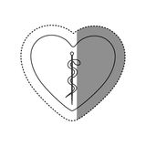 Sticker of monochrome silhouette of heart with asclepius snake coiled. Illustration Royalty Free Stock Photo