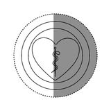 Sticker of monochrome silhouette of heart inside of double circle with asclepius snake coiled. Illustration Stock Photos
