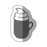 Sticker monochrome silhouette mug of cappuccino with cream. Illustration Stock Photography