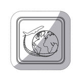 sticker monochrome silhouette square button with airplane around earth world Royalty Free Stock Image