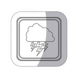 Sticker monochrome silhouette square button with cloud with lightnings Stock Photo
