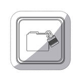 Sticker monochrome silhouette square button with folder wit paclock closed Stock Photography