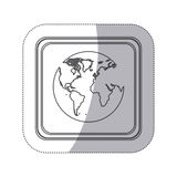 sticker monochrome silhouette square button with globe earth world map Stock Images