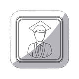 sticker monochrome silhouette square button with half body man with graduation outfit Royalty Free Stock Photos