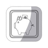 Sticker monochrome silhouette square button with piggy bank with dollar coin. Illustration Royalty Free Stock Photo