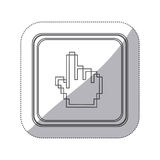 Sticker monochrome silhouette square button with pixelated hand pointing up. Illustration Stock Photography