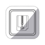 Sticker monochrome silhouette square button with sheet with zip. Illustration Stock Image