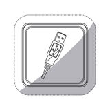 sticker monochrome silhouette square button with usb connector with wire Stock Photography