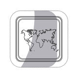 sticker monochrome silhouette square button with world map Stock Photos