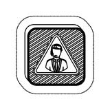 Sticker monochrome square with call center operator. Vector illustration Royalty Free Stock Photography
