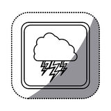 Sticker monochrome square frame with cloud with lightnings Stock Photos
