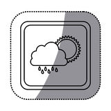 sticker monochrome square frame with cloud with rain and sun Stock Images