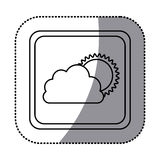sticker monochrome square frame with cloud and sun Royalty Free Stock Photo