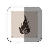 Sticker monochrome square with icon flame Stock Photo