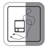 sticker monochrome square silhouette with tech portable music device with headphones Royalty Free Stock Photo