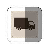 Sticker monochrome square with truck Royalty Free Stock Photography