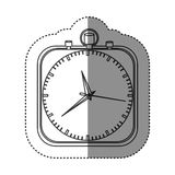 Sticker of monochrome stopwatch in shape square Royalty Free Stock Images