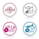 4 sticker music Royalty Free Stock Image