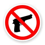Sticker of no gun sign. With shadow Stock Photo