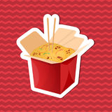Sticker of noodles wok in paper box on red striped background. Graphic design elements for menu, poster, brochure. Vector illustra. Tion of fast food for bistro Stock Image