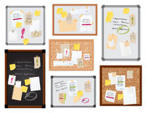Sticker notes pined on board vector illustration. Stock Image