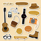 Sticker Object Boy Smart camera guitar shoe skateboard watch cartoon Vector Stock Photos