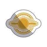 Sticker ochre stamp abstract art deco emblem. Vector illustration Stock Images