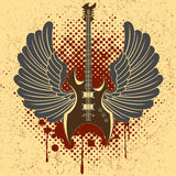 Sticker op het overhemd het beeld van een gitaar van vleugel Stock Afbeeldingen