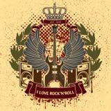 Sticker op het overhemd het beeld van een gitaar van vleugels Royalty-vrije Stock Foto
