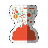 Sticker orange cloud in cumulus shape with set collection investment and tech. Illustration Stock Photo