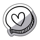 Sticker oval dialog box with silhouette heart Stock Photo