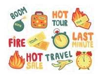 Sticker pack last minute. set discounts for tourist trips. travel last-minute sale. Vector Royalty Free Stock Image