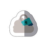 Sticker padlock with shackle into the cloud. Vector illustration Stock Images