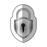Sticker padlock with shield shape body and shackle Stock Photos