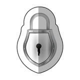 Sticker padlock with shield shape body and shackle Royalty Free Stock Image