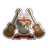 Sticker pair acoustic guitar musical with decorative ornamental sugar skull and ribbon Stock Images