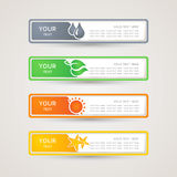 Sticker paper Label with nature icons set Stock Photos