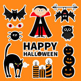 Sticker patch badge set. Count Dracula, monster, spider, bat, owl, red eye, candle. Happy Halloween. Text with pumpkin. Cute carto. Sticker patch badge set Stock Images