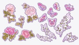 Sticker, patches elements, fashion patch badges with rose, butte Stock Image