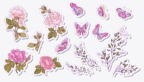 Sticker, patches elements, fashion patch badges with rose, butte Royalty Free Stock Photos