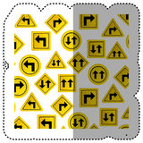 sticker pattern road traffic sign with arrows set Stock Photo